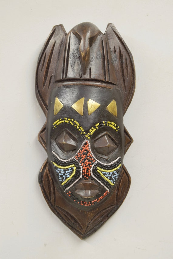 African Mask Ashanti Red Blue Beaded Bird Wood Mask Ghana Handmade Dove Bird Ceremonial Spiritual Ancestor Mask