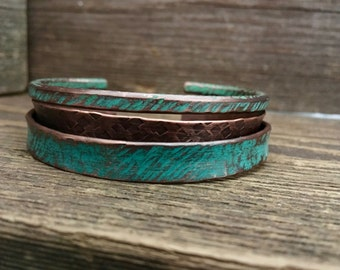 Handmade turquoise cuffs, hammered copper,  3 copper stacked bracelets