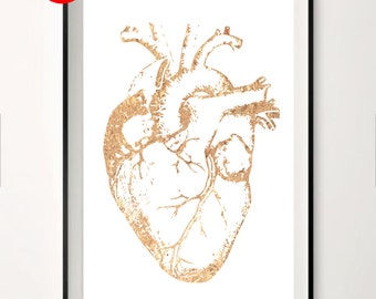 Human Heart ,  Gold Foil Print, Metallic foil art card backed foiled not printed rose, gold, silver,pink,blue, sparkle