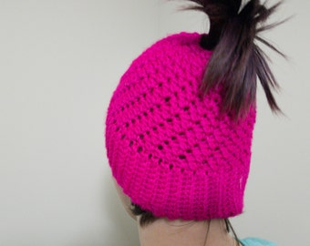 Ponytail Ski Beanie, Custom Messy Bun Hat,  Crochet Ponytail Hat, Beanie Hair Hole, All Sizes, Winter fashion, Cotton hat, Wool hat