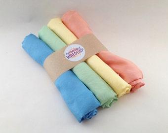 "Play Silks - Pastel Set (30""x 30"") waldorf play silk, rainbow silk, large playsilk"