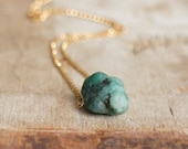 Raw Emerald Necklace in Silver or Gold May Birthstone Rough Emerald Crystal Necklace Raw Stone Jewellery Emerald Jewelry UK Jewellery
