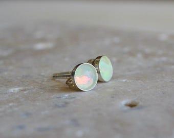 Welo Opal Stud Earrings // Ethiopian Opal on 14k gold fill or Sterling Silver