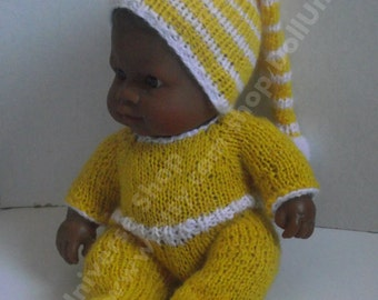 Handknitted Overall and a pom pom hat Paola Reina baby doll  8 inch //Reborn Dolls.