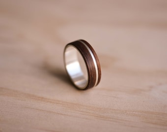 Argentium Silver Inlay & Liner with Santos Rosewood Bentwood Ring