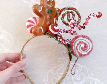 Ugly Christmas Sweater party, adult christmas headband, gingerbread headband for women, peppermint, red holiday headband, candy & cookies
