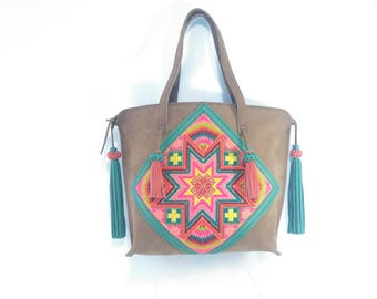 Bag leather, nubuk. With Tapestry hand embroidered with cross stitch.