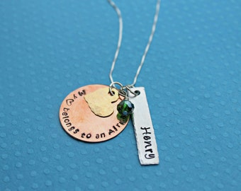 Air force Wife Air Force Mom Air Force Girlfriend Necklace My heart belongs to an Airman