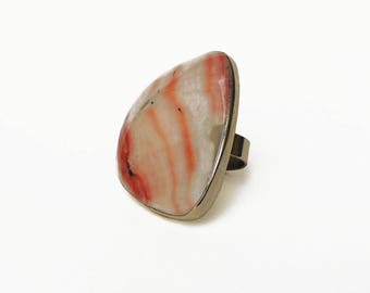 oversized statement RING Alpaca Silver light amber and pink tones natural Shell adjustable