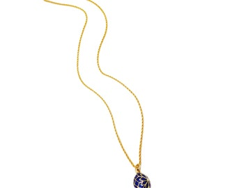 Mini Russian  Egg Pendant on a short  Gold Plated chain.