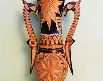 Large Vintage Wooden Carved Vase, Wood Vase, Tall Floor Vase, Hand Carved Wood, Folk Art