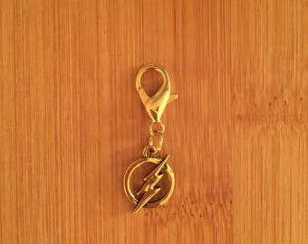 Flash logo zipper charm with key ring, Flash zipper pull, Flash purse charm, Flash keychain