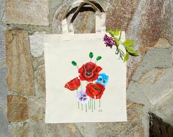 Hand painted art Poppy bag Teacher tote bag Canvas tote Beige Tote bag, Pansy flowers art Beach bag tote, Tote bag canvas Teacher gifts bags