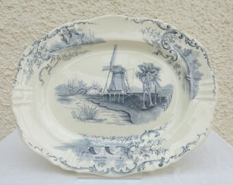 Antique Blue and White Transfer Printed Platter - Late 19th Century, English