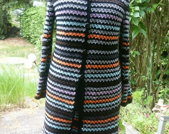 Crochet sweater coat, long jacket, black stained, Gr. 38-42 (M)