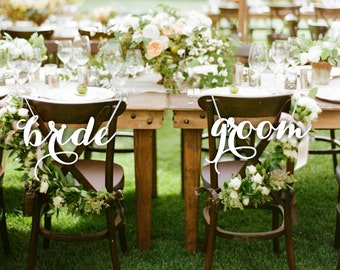 Bride and Groom.Chair Sign Wedding.Bride Groom Chair Sign.