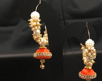 Orangle Moti Pearl Earrings - Silk Thread Jewelry - Silk Thread Earrings - Indian Jewelry - Jhumka Earrings - Jhumki Earrings - Bollywood -