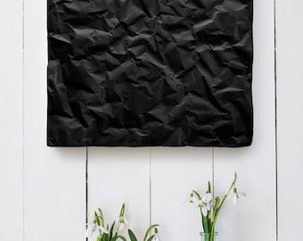 Concrete art panel, black, modern decor, wall art, minimalist interior decor