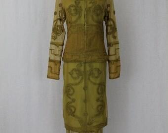 Vintage Nataya Soutache Tulle Edwardian Style 2 piece Downton Abbey Titanic Dress S NWT