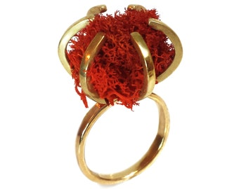 Brass Claw Ring - Claw Ring - Moss Ring - Red and Gold Ring - Sculptural Ring - Hipster Ring - Mod - Statement Ring - Made In Brooklyn