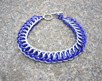 Rarity Themed Chainmaille Bracelet - White and Purple - The perfect gift for a generous brony or pegasister in your life!