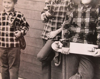 Vintage Photograph, Boys with Skateboards, Boys Photo, Vintage Photo, Boys in Plaid Shirts, Boy in Glasses, Boys in Tennis Shoes Found Photo