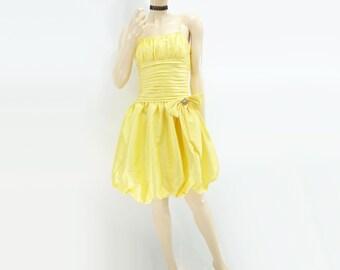 Yellow Party Dress 1980s Vintage Dress Vintage Bubble Dress Yellow Mini Dress Ruched Mini Dress Spaghetti Strap Mini Boned Dress m / l