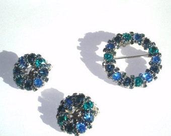 Signed Weiss Blue Rhinestone Brooch Earrings Silver Tone