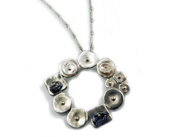 Sterling Silver Larger Circular Collaged Pendant with Keshi Pearls