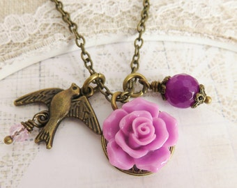 Purple flower necklace, charm necklaces, bird necklace, romantic rose jewelry, gift for her, rustic wedding jewelry,
