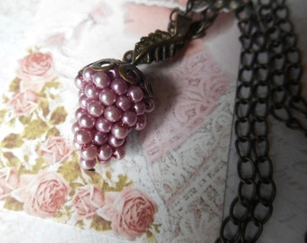 Grape Cluster Necklace, Vintage Necklace, Blue Grapes, Lavender Grapes, Grape Necklace, Made in Japan