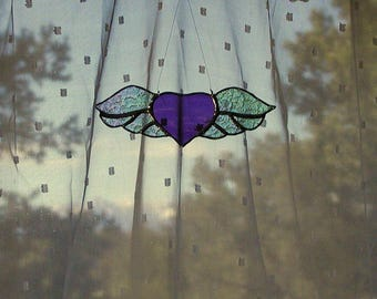 Purple Heart with Wings Suncatcher, Amethyst Stained Glass Heart, Angel Wings, Home Decor, Iridescent Wings, Handmade, Window Decor, Gift