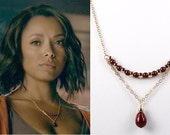 As seen on The Vampire Diaries Necklace Oxblood and Gold Swarovski Pearl and Chain Trapeze Necklace Peal Necklace Beaded Necklace