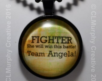 Team Survivor Fighter Pendant Necklace Jewelry Cancer Sobriety Survival Necklace Win the Battle C L Murphy Creative