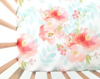 Crib Sheet Pink Plush Floral. Fitted Crib Sheet. Baby Bedding. Crib Bedding. Crib Sheets. Floral Crib Sheet.