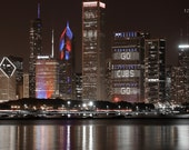 Chicago Cubs Skyline photo print, Chicago downtown picture red and blue city art, large canvas photography wall decor 5x7 12x12 16x24 30x45