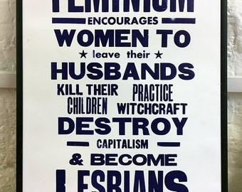 Letterpress poster - Feminism