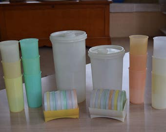 2 Tupperware Millionaire Line Beverage Containers, 12 Tupperware Pastel 6 oz. Tumblers and 2 Sets of Tupperware Coasters