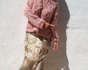 Pink wool sweater, knit pullover, knit loose sweater, women sweaters, wool jumpers, hand knit sweater, gifts for girlfriend
