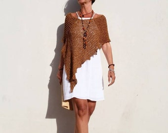 Loose knit poncho, summer poncho, boho chic clothing, women poncho, beach cover up,