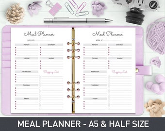 A5 Meal Planner Printable, Weekly Meal Planner, Menu Planner, Printable Meal Schedule, Shopping list, Meal Planner Half Size, Food Planner