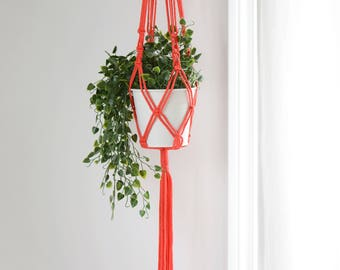 Macrame Plant Hanger, Coral colored