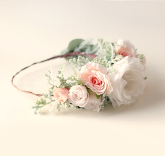 Bridal flower wreath, Pink and white crown, Large rose crown, Boho bridal wreath, Flower headpiece, Floral crown, Pink rose wreath