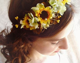 sunflower crown, sunflower hair piece, yellow headpiece, sunflower headband, sunflower wedding, yellow flower crown, bridal flower crown