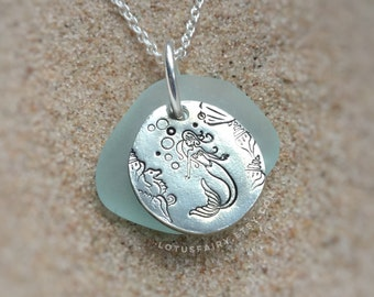 Mermaid Sea glass necklace, hand stamped with seahorse and seashells
