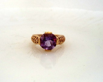 Vintage Signed 10K Genuine Amethyst Ring Yellow Gold  Purple Gem Solitaire Engagement Ring