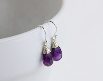 Dark Purple Amethyst Earrings, Gemstone Jewelry, Sterling Silver Wire Wrapped earrings, February Birthstone