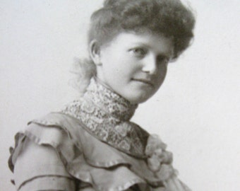 Heyn Antique Black and White Portrait Original Omaha Studio Female Full length Portrait late 1800's to early 1900's