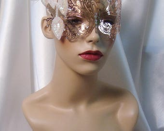 Rose Gold Laser Cut Metal Mask, Masquerade Ball Mask, Mardi Gras Mask, Prom Mask