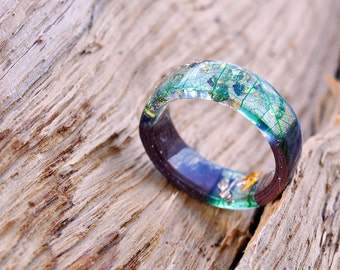 emerald ring, Womens wood ring, Boho rings, ring wood, Elven ring, Forest jewelry, Real leaf ring, nature lover gift, skeleton leaves ring